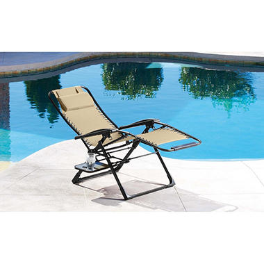 Oversized anti gravity suspension lounger beige sam 39 s club for Anti gravity suspension chaise lounger