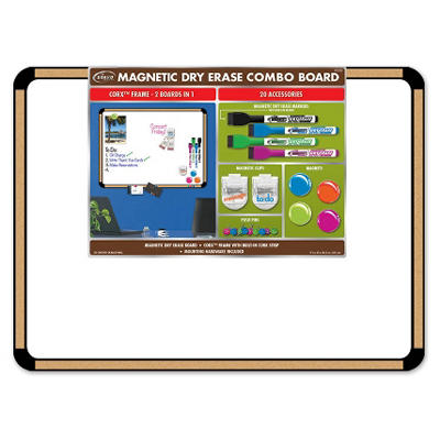 "Board Dudes 23"" x 17"" CorX Magnetic Dry Erase Combo Board with Accessories"