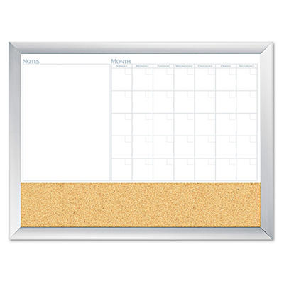 "The Board Dudes - Magnetic Dry Erase 3-N-1 Board - Cork Area - Silver - 36"" x 24"""