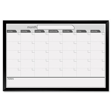 The Board Dudes - Magnetic Dry Erase Board, 36 x 24, Black/White Calendar with Black-Painted Frame