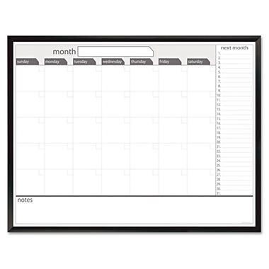 The Board Dudes - Magnetic Dry Erase Board, 48 x 36, Black/White Calendar with Black-Painted Frame