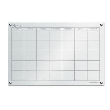 The Board Dudes - GlassX Frosted Glass Dry Erase Board with Monthly Planner - No Frame - 35