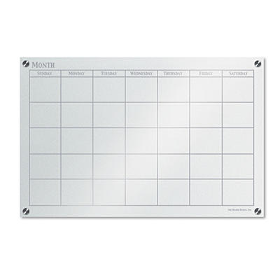 "The Board Dudes - GlassX Frosted Glass Dry Erase Board with Monthly Planner - No Frame - 35"" x 23"""