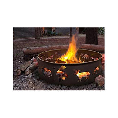 Big Sky Steel Fire Ring Wildlife - Black