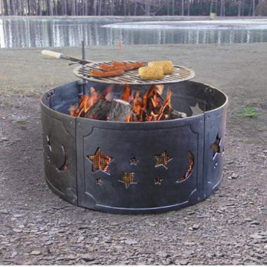 Big Sky Fire Ring Fire Pit w/ Star & Moon Cutouts
