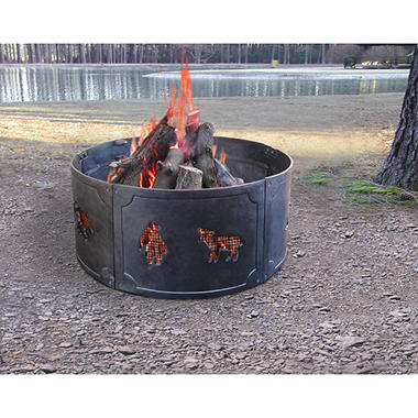 Big Sky Cast Iron Fire Ring Wildlife - Black