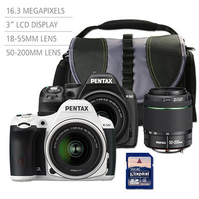Pentax K50 16MP CMOS Waterproof DSLR Bundle with 18-55mm WR Lens, 50-200mm WR Lens, Camera Bag and 16GB SD Card - Various Colors