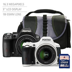 Pentax K50 16MP CMOS Waterproof DSLR Bundle with 18-55mm WR Lens, Camera Bag and 16 GB SD Card - Various Colors