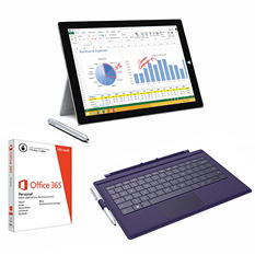 Surface Pro 3 Intel i3, 4GB Memory, 64GB Hard Drive Bundle, Includes: Device, Pen, Purple Surface Pro Type Cover, Office 365 Personal 1yr Subscription