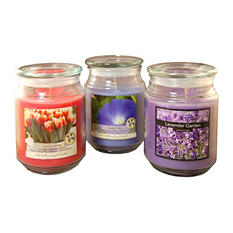 Floral Collection Scented Candles - 18oz Apothecary Jar - Set of 3