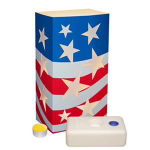 12 ct. LumaLantern Kit with Citronella Candles- Patriotic Flag