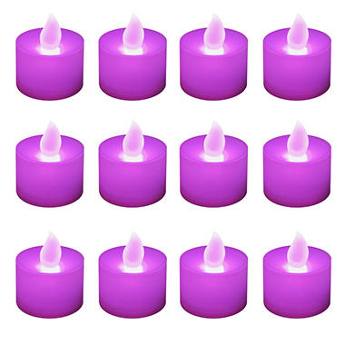 12 ct. LED Flickering Lights Flameless Candles - Purple