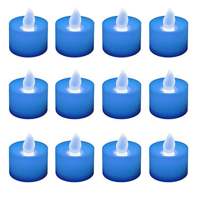 12 ct. LED Flickering Lights Flameless Candles - Blue