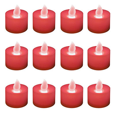 12 ct. LED Flickering Lights Flameless Candles - Red