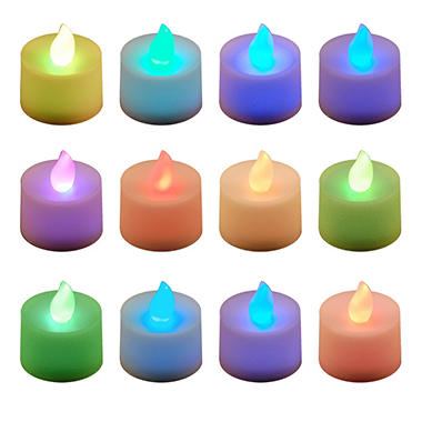12 ct. LED Flickering Lights Flameless Candles - Red, Green, & Blue