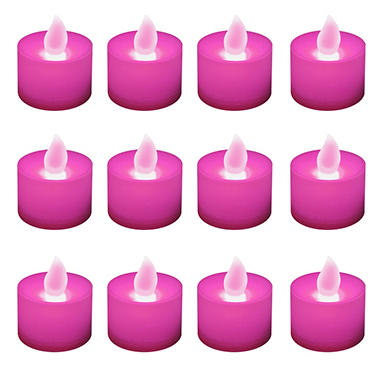 12 ct. LED Flickering Lights Flameless Candles - Pink