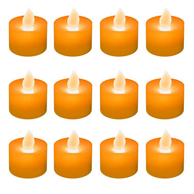 12 ct. LED Flickering Lights Flameless Candles - Orange