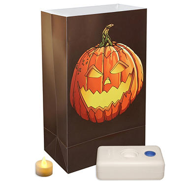 12-Count LumaBase LED Luminaria Kit - Jack O'Lantern
