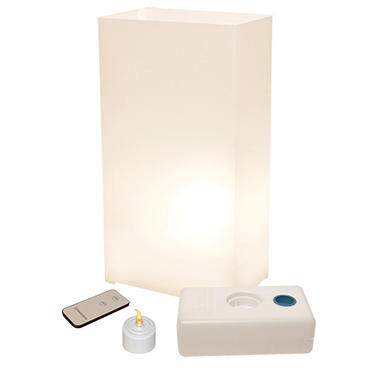 Remote Control LED Luminaria Kit - White 10 Count