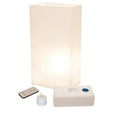 Remote Control LED Luminaria Kit - White 10 Count