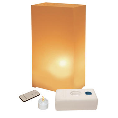 Remote Control LED Luminaria Kit- Tan 10 Count