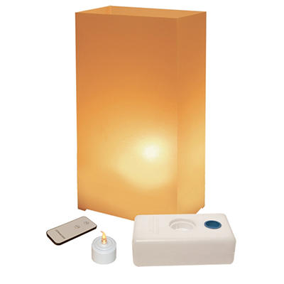 Remote Control LED Luminaria Kit - Tan 10 Count