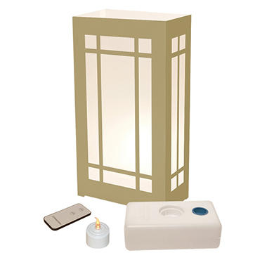 Remote Control LED Luminaria Kit- Gold Lantern 10 Count