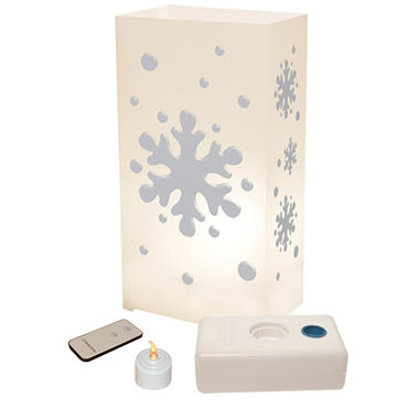 Remote Control LED Luminaria Kit - Snowflake - 10 ct.