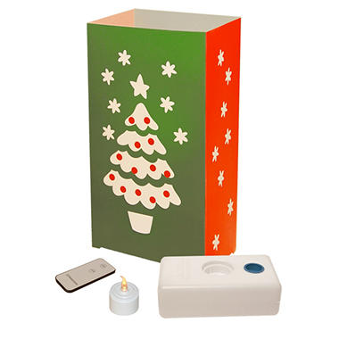 Remote Control LED Luminaria Kit - Christmas Tree - 10 ct.