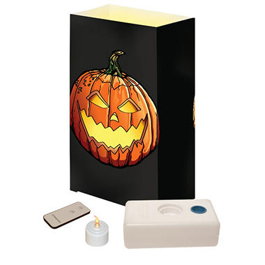 Remote Control LED Luminaria Kit - Jack O' Lantern - 10 ct.
