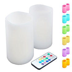Multi-Color Flameless Flickering LED Candles with Remote Control (2 ct.)