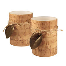 Battery-Operated LED Candles, Cork with Leaf (2 ct.)