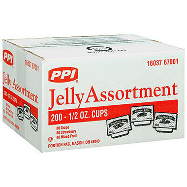 PPI Jelly Assortment - .5 oz. cups - 200 ct.