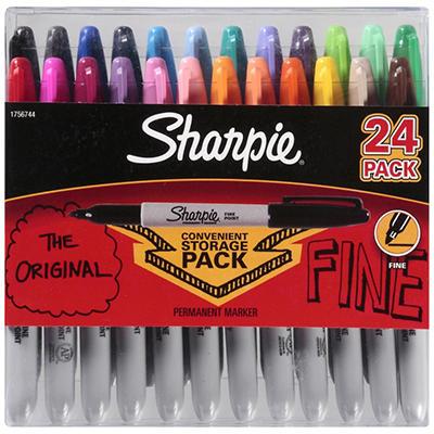 Sharpie - Permanent Marker, Fine, Assorted Colors - 24 Count