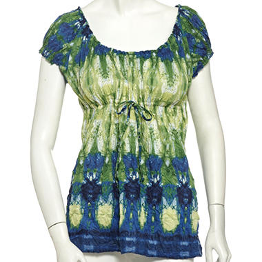 Lizwear Crinkle Drawstring Top - Blue & Green Stained Glass Print