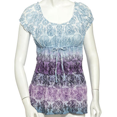 Lizwear Crinkle Drawstring Top - Purple & Blue Medallion Print