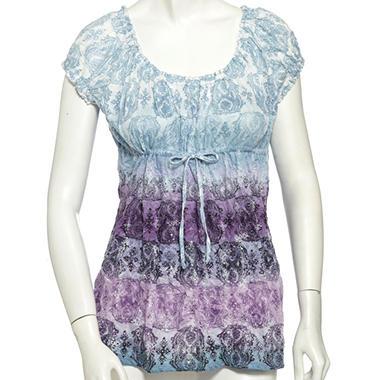 Lizwear Crinkle Drawstring Top - Purple & Blue Medallion Print
