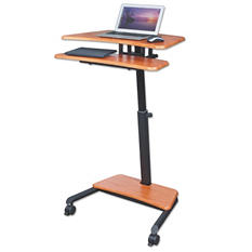 BALT Up-Rite Mobile Sit to Stand Workstation, Cherry