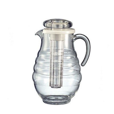Acrylic 3.3 liters Pitcher w/Ice Tube - Ribbed