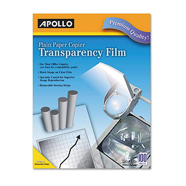 Apollo - Laser Copier Transparency Film, Removable Sensing Stripe, Letter, Clear - 100/Box