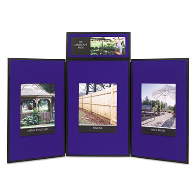 Quartet - ShowIt Three-Panel Display System, Fabric, Blue/Gray, Black PVC Frame