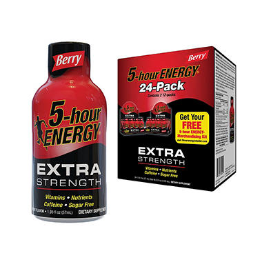 5-Hour Energy Extra Strength Berry Flavor, 1.93 oz. (24 pk.)