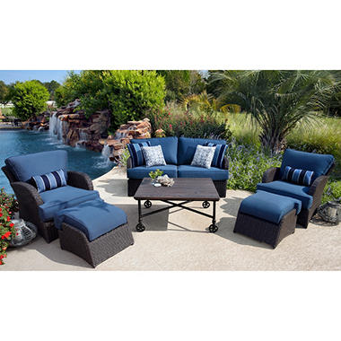 Member's Mark Kingston Outdoor Patio Deep Seating Set with Premium Sunbrella Fabric - 6 pc, Original Price $1599.00