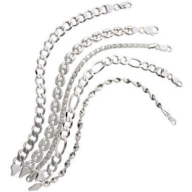 Set of 5 Assorted Sterling Silver Bracelets - 7.5