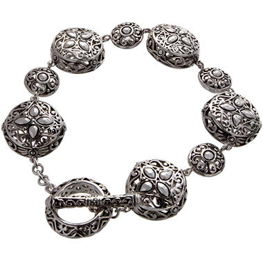 Sterling Silver Filigree Circle Toggle Bracelet