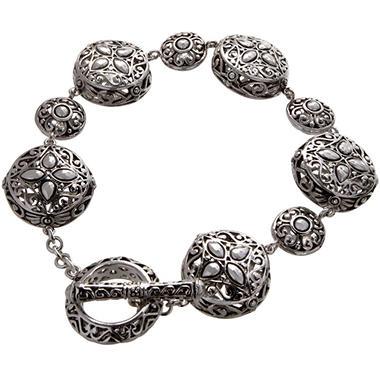 Sterling Silver Filigree Circle Toggle Bracelet