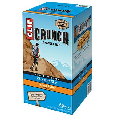 CLIF Crunch Granola Bar,  Variety Pack - 60 Bars