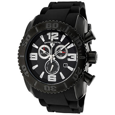 Swiss Legend Men's Commander Chronograph Black Rubber Strap Watch