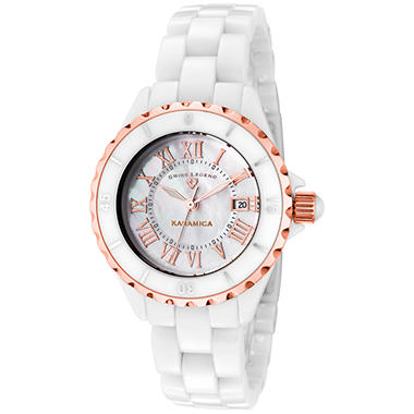 Swiss Legend Women's Karamica Rose Gold Tone Bezel, White High Tech Ceramic Watch