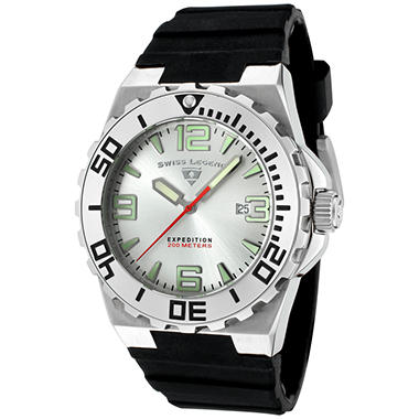 Swiss Legend Men's Expedition Silver Dial, Black Silicon Watch